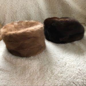 Lot of vintage mink fur 1960s pillbox hats